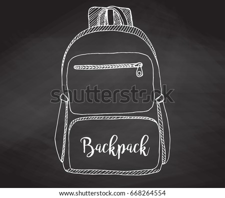Sketch of a rucksack. Backpack isolated on the chalkboard. Vector illustration of a sketch style.