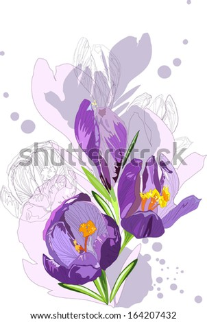 sketch of a spring flowers