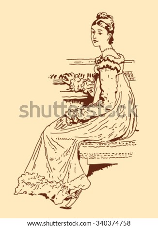 sketch of a woman sitting on