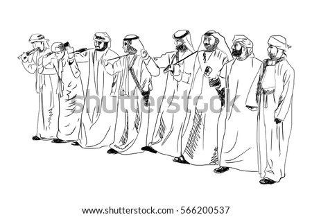Sketch of Arabic traditional dance in vector.