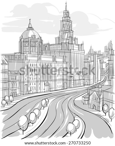Sketch of Architecture. city landscape. Buildings