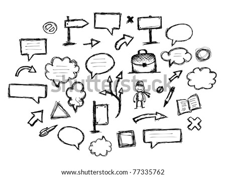 Sketch of arrows and frames for your design - stock vector