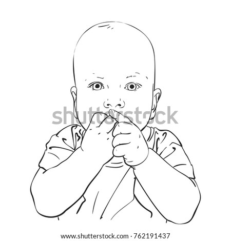 sketch of baby sucking his