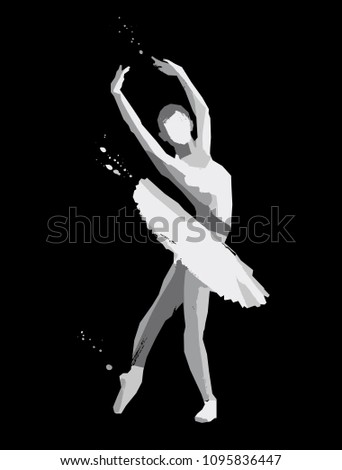 Sketch of ballerina. Vector illustration on a black background. Dance concept.