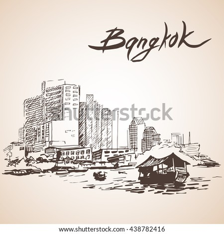 sketch of bangkok cityscape