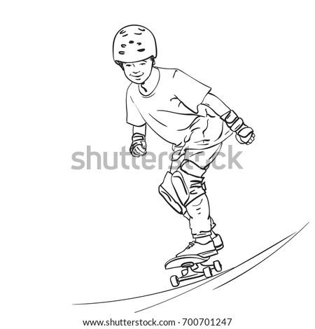sketch of boy skateboarder in