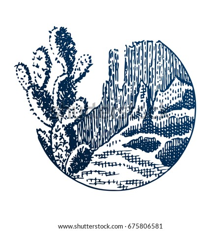 Sketch of cactus in a dry desert. Extreme tourism and traveling badge. Back to nature. Exploring mountains. Outdoor activity travel symbol. Hand drawn engraving illustration for poster, card design.
