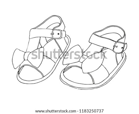 4f2d51bd76076 ... Sketch of children's sandals for girls. Vector illustration.