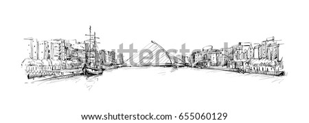 sketch of cityscape in dublin