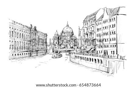 sketch of cityscape in germany