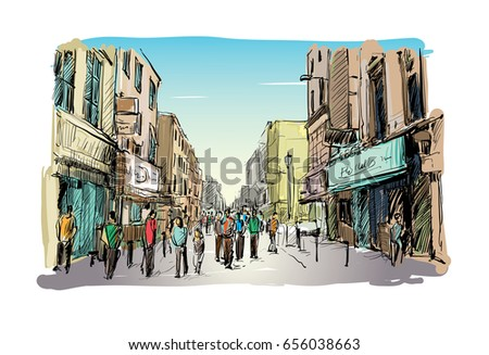 sketch of cityscape in ireland