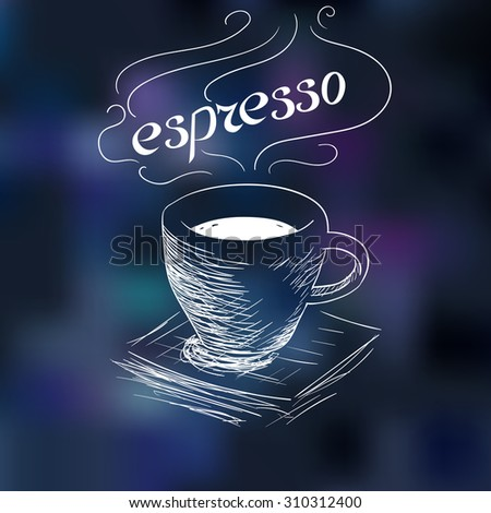 sketch of coffee espresso