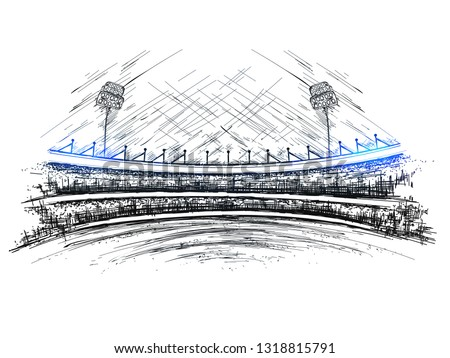 Sketch of cricket stadium view for Cricket tournament poster or banner design.