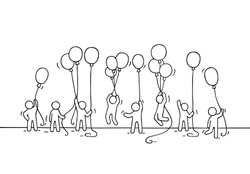 Sketch of crowd little people. Doodle cute miniature scene of workers with balloons. Hand drawn cartoon vector illustration for business and celebration design.