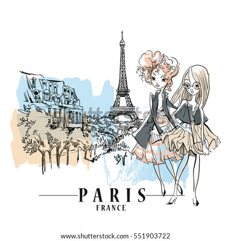 Sketch of cute fashion cartoon girls. Vector illustration. Paris landscape background.