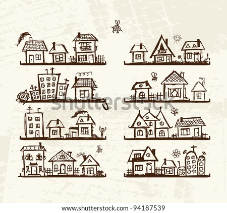 Sketch of cute houses on shelves for your design - stock vector