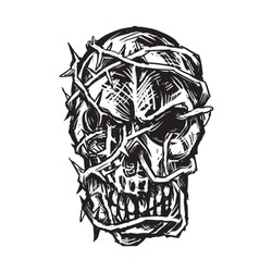 sketch of dark skull tied with spiky root hand drawing