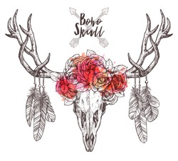 Sketch Of Deer Skull With Tribal Arrows, Feathers And Flower Crown. Hand Drawn Illustration With Floral Horns In Boho, Hipster And Rustic Style