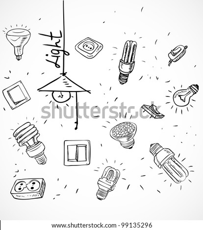 Sketch of different light bulbs switches and sockets