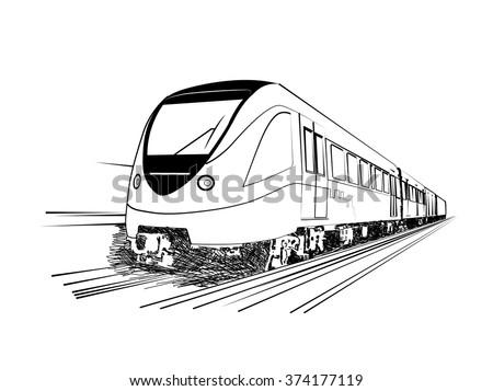 Sketch of Dubai metro. Vector