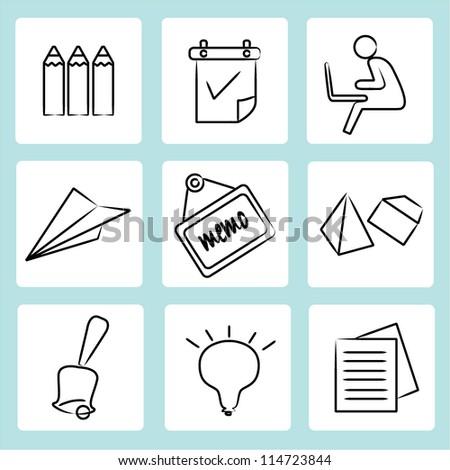 sketch of education set, icon set, school set