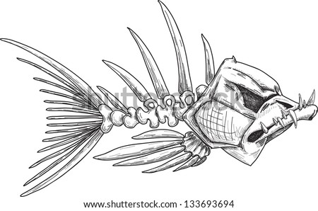 Fish Skeleton Drawing Sketch of Evil Skeleton Fish