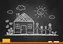 Sketch of family on blackboard