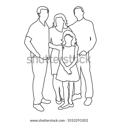 sketch of family with children