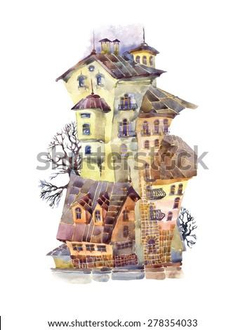 sketch of fantasy town