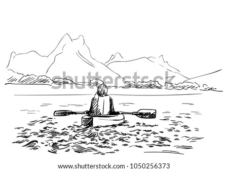 Sketch Of Female Kayaker View From Behind Kayaking In Shallow Water With Mountains On Background