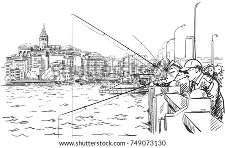 sketch of fishermen on galata