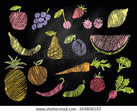 Sketch of flat fruits and vegetables hand drawn with chalks on blackboard. Vector illustration