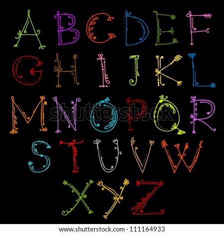 Sketch of floral alphabet for your design