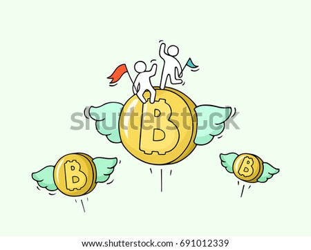sketch of flying bitcoins with