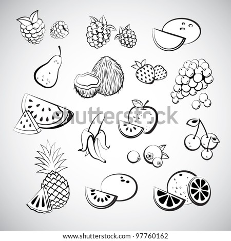 Fruit Sketch Drawing Sketch of Fruit Icons