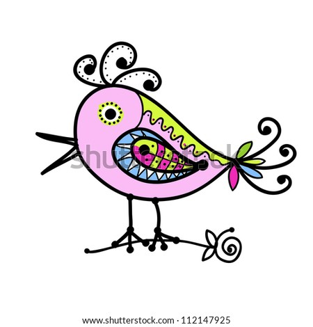 sketch of funny colorful bird