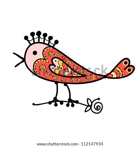 Sketch of funny colorful bird for your design