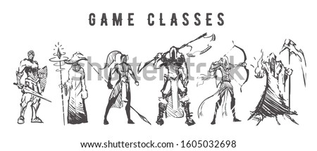 Sketch of game classes of multiplayer games. Mage, Warrior, Archer, Healer, Lancer and Berserk hand drawn isolated on white background.