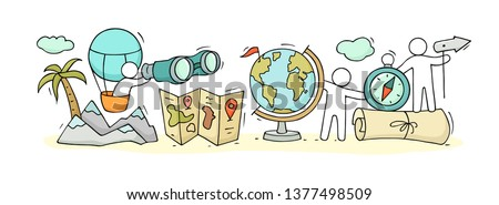 Sketch of geography class with working little people. Doodle cute miniature of teamwork and earth symbols. Hand drawn cartoon vector illustration for school subject design.