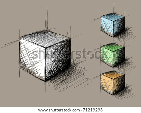 sketch of geometric  object (cube)