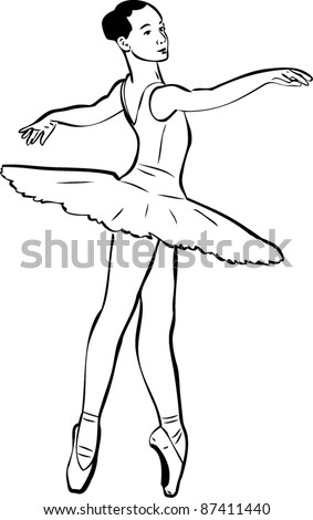 sketch of girl's ballerina in