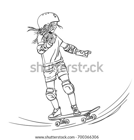 sketch of girl skateboarder