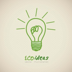 sketch of green light bulb, ecological concept, vector illustration