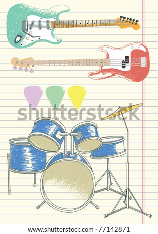Sketch of Guitars and a Drum Kit