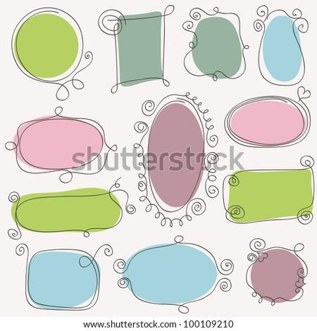 Sketch of hand drawing frames. Vector design elements