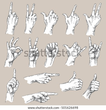 sketch of hand gestures