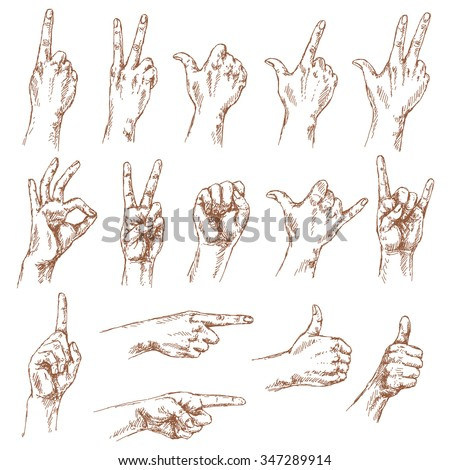 sketch of hand gestures set of