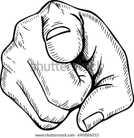Sketch of  hand pointing finger