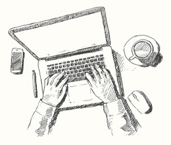 Sketch of hands with computer, man doing office work, top view, hand drawn vector illustration.
