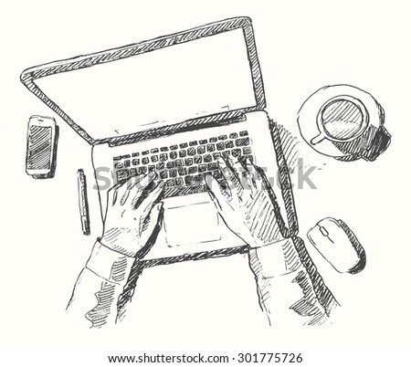 sketch of hands with computer